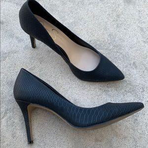 Jessica Simpson Black Snakeskin Heels Size 8